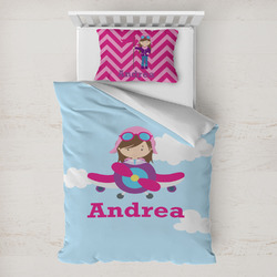 Airplane & Girl Pilot Toddler Bedding w/ Name or Text