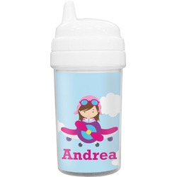 Airplane & Girl Pilot Toddler Sippy Cup (Personalized)