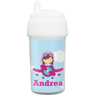 Airplane & Girl Pilot Sippy Cup (Personalized)