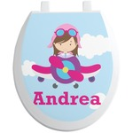 Airplane & Girl Pilot Toilet Seat Decal (Personalized)