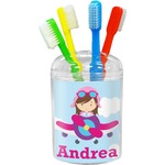 Airplane & Girl Pilot Toothbrush Holder (Personalized)