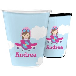 Airplane & Girl Pilot Waste Basket (Personalized)