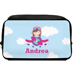 Airplane & Girl Pilot Toiletry Bag / Dopp Kit (Personalized)
