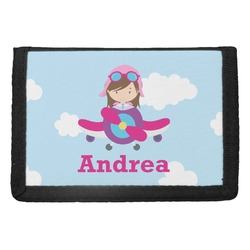 Airplane & Girl Pilot Trifold Wallet (Personalized)