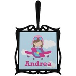 Airplane & Girl Pilot Trivet with Handle (Personalized)