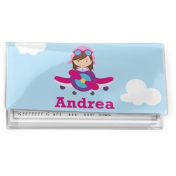 Airplane & Girl Pilot Vinyl Checkbook Cover (Personalized)