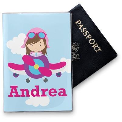 Airplane & Girl Pilot Vinyl Passport Holder (Personalized)
