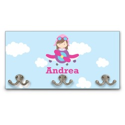 Airplane & Girl Pilot Wall Mounted Coat Rack (Personalized)