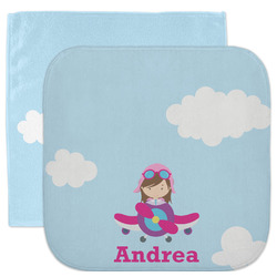 Airplane & Girl Pilot Facecloth / Wash Cloth (Personalized)