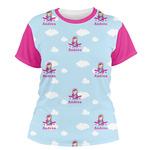 Airplane & Girl Pilot Women's Crew T-Shirt (Personalized)
