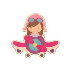 Airplane & Girl Pilot Genuine Wood Sticker (Personalized)