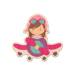 Airplane & Girl Pilot Genuine Maple or Cherry Wood Sticker (Personalized)