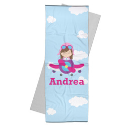 Airplane & Girl Pilot Yoga Mat Towel (Personalized)