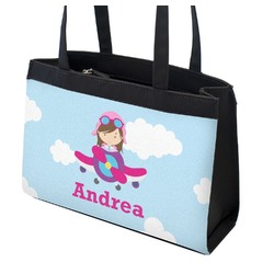 Airplane & Girl Pilot Zippered Everyday Tote (Personalized)