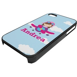 Airplane & Girl Pilot Plastic 4/4S iPhone Case (Personalized)