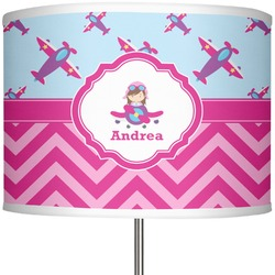 "Airplane Theme - for Girls 13"" Drum Lamp Shade (Personalized)"
