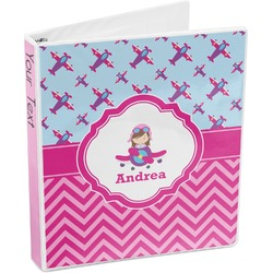 Airplane Theme - for Girls 3-Ring Binder (Personalized)