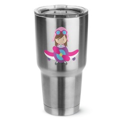Airplane Theme - for Girls 30 oz Silver Stainless Steel Tumbler w/Full Color Graphics (Personalized)