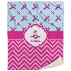 Airplane Theme - for Girls Sherpa Throw Blanket (Personalized)