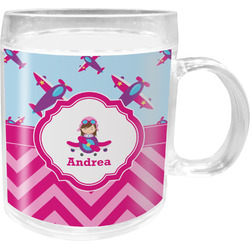 Airplane Theme - for Girls Acrylic Kids Mug (Personalized)