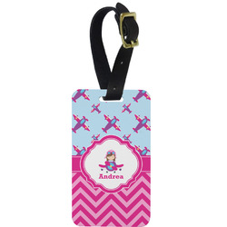 Airplane Theme - for Girls Metal Luggage Tag w/ Name or Text