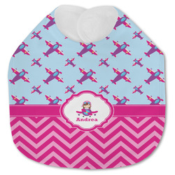 Airplane Theme - for Girls Jersey Knit Baby Bib w/ Name or Text