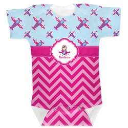 Airplane Theme - for Girls Baby Bodysuit (Personalized)