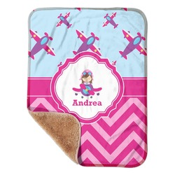 "Airplane Theme - for Girls Sherpa Baby Blanket 30"" x 40"" (Personalized)"
