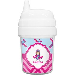 Airplane Theme - for Girls Baby Sippy Cup (Personalized)