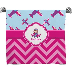 Airplane Theme - for Girls Full Print Bath Towel (Personalized)