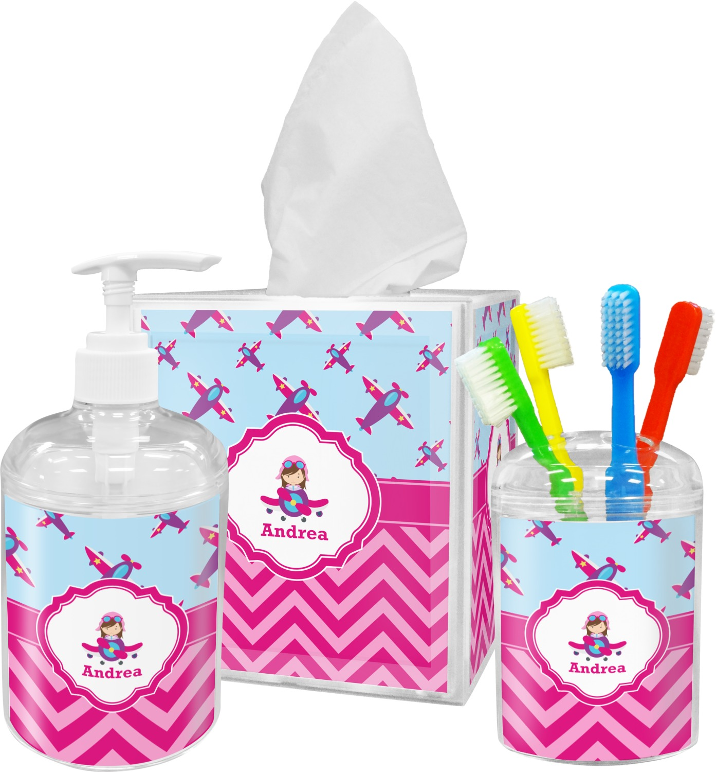 Airplane Theme   For Girls Bathroom Accessories Set (Personalized)