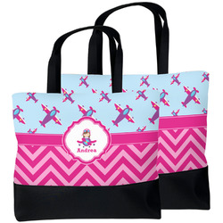 Airplane Theme - for Girls Beach Tote Bag (Personalized)