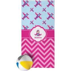 Airplane Theme - for Girls Beach Towel (Personalized)