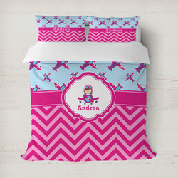 Airplane Theme - for Girls Duvet Cover (Personalized)