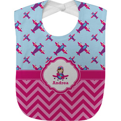 Airplane Theme - for Girls Baby Bib (Personalized)