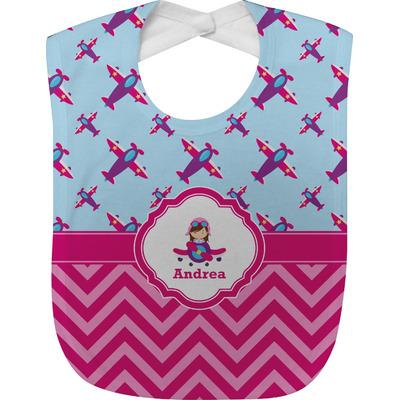 Airplane Theme - for Girls Baby Bib (Personalized)
