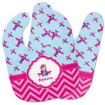 Airplane Theme - for Girls Baby Bib w/ Name or Text