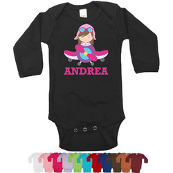Airplane Theme - for Girls Bodysuit - Black (Personalized)