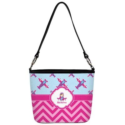 Airplane Theme - for Girls Bucket Bag w/ Genuine Leather Trim (Personalized)