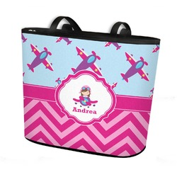 Airplane Theme - for Girls Bucket Tote w/ Genuine Leather Trim (Personalized)
