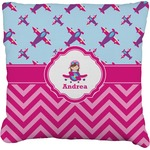 Airplane Theme - for Girls Faux-Linen Throw Pillow (Personalized)