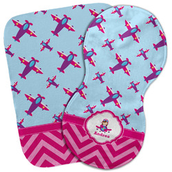 Airplane Theme - for Girls Burp Cloth (Personalized)