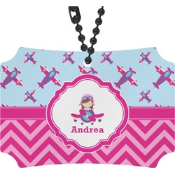Airplane Theme - for Girls Rear View Mirror Ornament (Personalized)