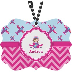 Airplane Theme - for Girls Rear View Mirror Decor (Personalized)