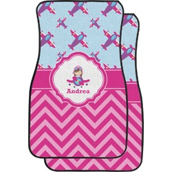 Airplane Theme - for Girls Car Floor Mats (Front Seat) (Personalized)