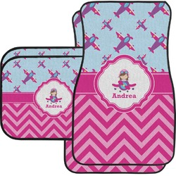 Airplane Theme - for Girls Car Floor Mats Set - 2 Front & 2 Back (Personalized)