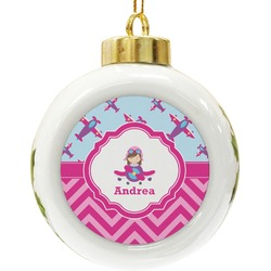 Airplane Theme - for Girls Ceramic Ball Ornament (Personalized)