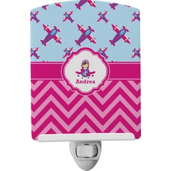 Airplane Theme - for Girls Ceramic Night Light (Personalized)