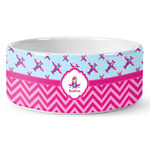 Airplane Theme - for Girls Ceramic Dog Bowl (Personalized)