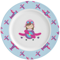 Airplane Theme - for Girls Ceramic Dinner Plates (Set of 4) (Personalized)